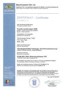 TLC VR7 Certificate