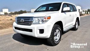 TAG Armored Car Toyota White Front Corner View