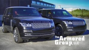 The Armored Group LLC Front Page Black Two Range Rovers Front View