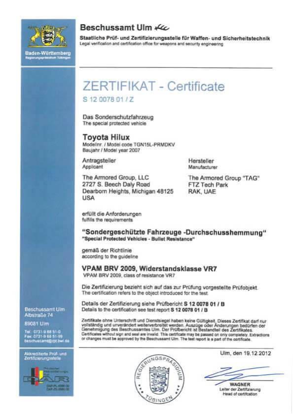 Certifications ZERTIFIKATE Certificate