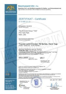 Certifications The Armored Group LLC ZERTIFIKATE Certificate