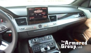 Interior of Audi A8L W12 sedan with back-up camera screen