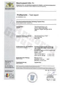 Zertifikat Certificate Toyota Landcruiser GXR Certifications Hilux