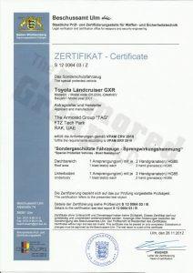 Zertifikat Certificate Toyota Landcruiser GXR Certifications