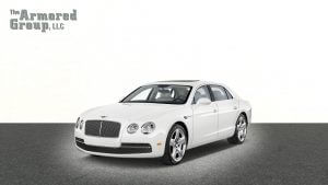 TAG Picture of white armored Bentley Flying Spur sedan with bulletproof glass