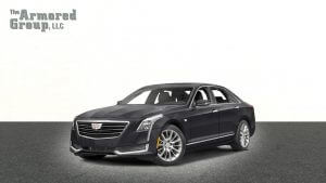 TAG Picture of black armored Cadillac CT6 sedan with bulletproof glass