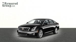 TAG Picture of black armored Cadillac XTS sedan with 7-inch stretch