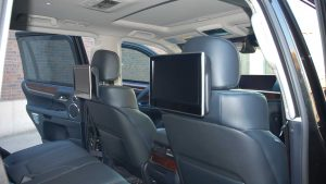 TAG Interior of armored Lexus LX570 SUV with TV screens
