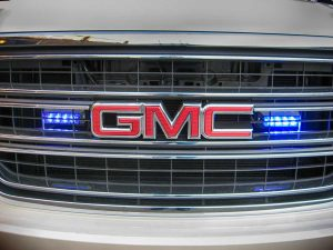 TAG Armored GMC Yukon Denali Front Grille Blue Lights