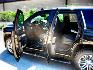 TAG Interior of bulletproof armored Cadillac Escalade with hydraulic steering
