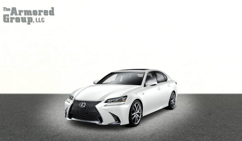 Picture of white armored Lexus GS sedan with blast protection