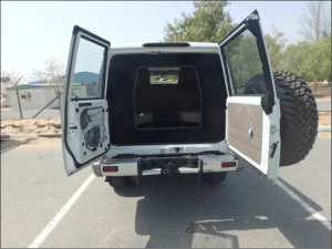 TAG Armored Toyota Land Cruiser 76 Series Rear Doors Open