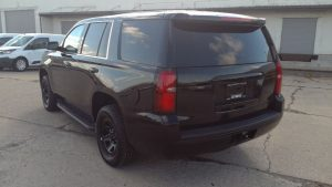 TAG Armored Chevrolet Tahoe Rear Side Corner View Black Bullet Proof