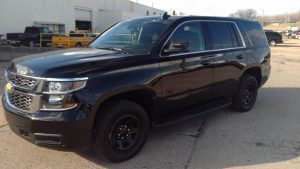 TAG Armored Chevrolet Tahoe Front Side Corner View Black Bullet Proof