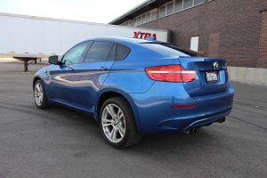 TAG Armored BMW X5 Rear Side Corner Blue Tail Lights View