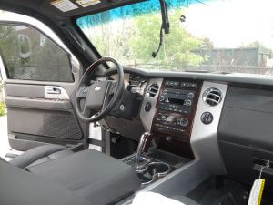 TAG Interior of armored Ford Expedition SUV passenger vehicle