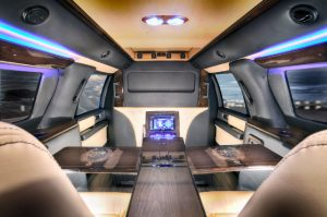 TAG Interior of bulletproof armored Ford Expedition Presidential SUV passenger vehicle