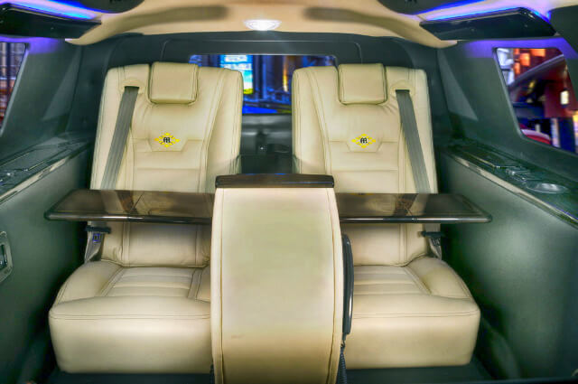 Seating in armored Ford Expedition Presidential SUV passenger vehicle