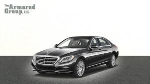 TAG 2012 Armored Mercedes S550 Black Front Side Corner Grille View