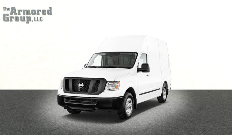 White armored Nissan NV cash-in-transit van with low/high roof picture