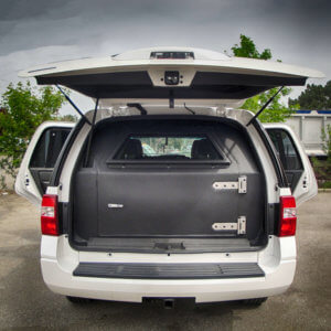 TAG Interior trunk space in armored Ford Expedition SUV passenger vehicle