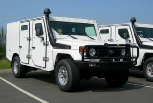 TAG Armored Toyota Land Cruiser 79 Front Corner View