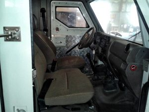 TAG Armored Toyota Land Cruiser 79 Interior Front Seats Dashboard View Passenger