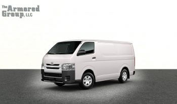 White armored Toyota Hiace cash-in-transit van picture