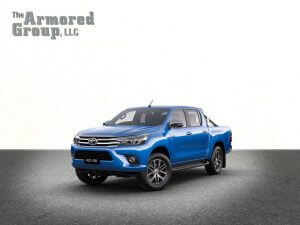 TAG Blue armored Toyota Hilux truck picture with bulletproof glass