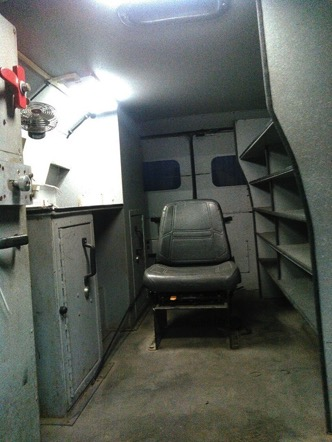 Interior of pre-owned 1999 Ford E250 cash-in-transit bulletproof van