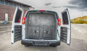 TAG Trunk of white bulletproof Chevrolet/GM 2500 & 3500 cargo van