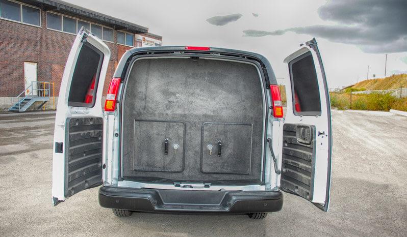Trunk of white bulletproof Chevrolet/GM 2500 & 3500 cargo van