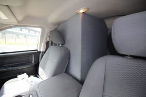 TAG Armored Dodge Ram 1500 Interior View Back Seat Added Pullet Proof Wall