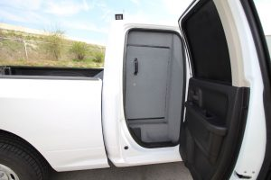 TAG Armored Dodge Ram 1500 Added Bullet Proof Wall Inside Back Seat Door Side View