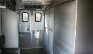 TAG Interior of non-armored Dodge law enforcement equipment truck