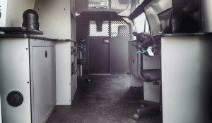 TAG Interior of non-armored Fordsurveillance law enforcement vehicle