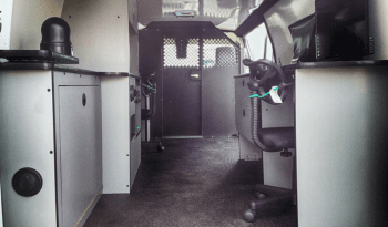 Interior of non-armored Fordsurveillance law enforcement vehicle