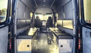 TAG Interior of non-armored Mercedes-Benz law enforcement raid and warrant van