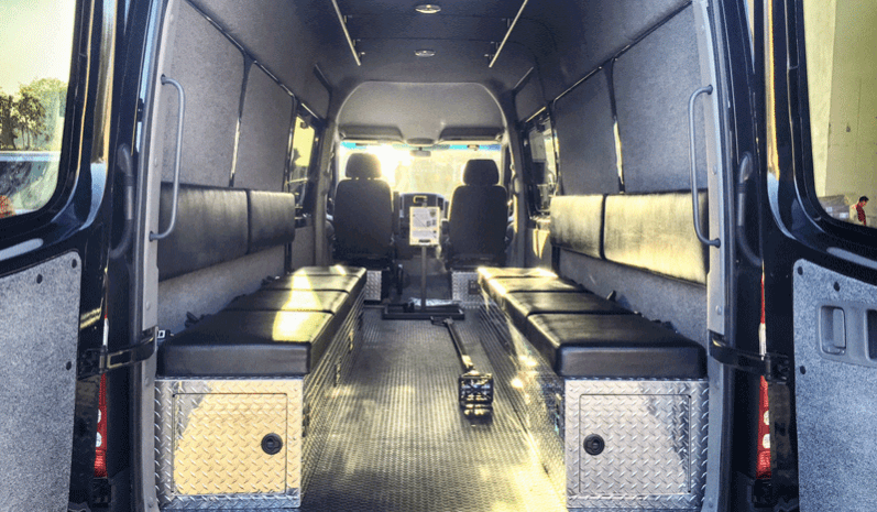 TAG Interior of non-armored Mercedes-Benz law enforcement raid and warrant van