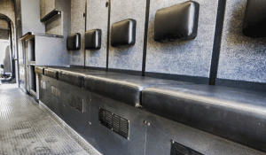 TAG Interior seating in non-armored Ford RDV F-650 law enforcement vehicle