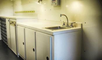 Sanitation station inside non-armored crime scene van for law enforcement picture