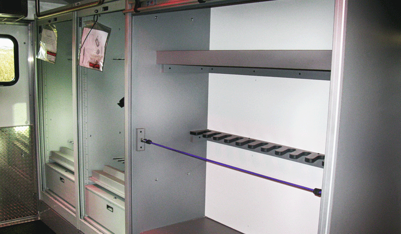 Interior view of storage in non-armored Ford RDV F-650 law enforcement vehicle