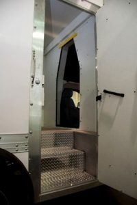 TAG 2013 Armored Ford F550 CIT Exterior View Side Door Open Steel Steps Enter Truck