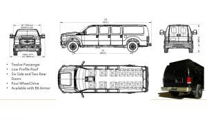 TAG Tactical Utility Vehicles Ford Mobile Commander Sketches Dimensions Details Twelve Passenger