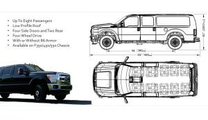 TAG Tactical Utility Vehicles Ford Mobile Commander Sketches Dimensions Details Eight Passenger Seating Arrangement Sky View