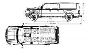 TAG Tactical Utility Vehicles Sketches Bumper To Bumper Dimensions Sky View Seating Arrangement