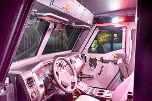TAG BATT-X armored vehicle with nighttime lighting
