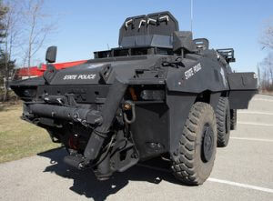 2008 GPV 6 x 6 Marshall State Police Front Corner