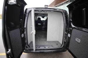 TAG Armored Nissan NV 200 Interior of bulletproof Nissan NV 200 cash-in-transit cargo van