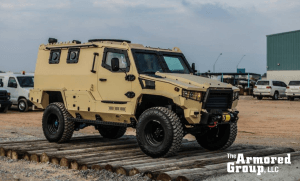 The Armored Group Introduces its Newest Vehicle, The Terrier LT-79 Khaki Color Outdoors
